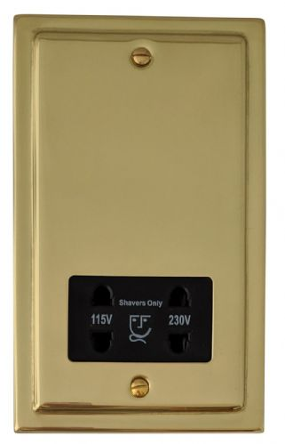 G&H TB30B Trimline Plate Polished Brass Dual Voltage Shaver Socket 115-230V